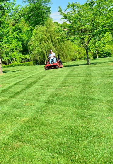 Blake's Lawn Care mowing large yard for homeowner in Maryland Heights, MO.