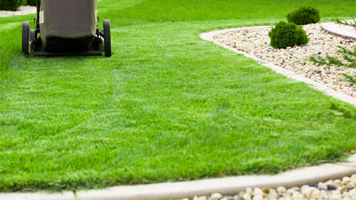 Mowing a lawn in Maryland Heights, MO.